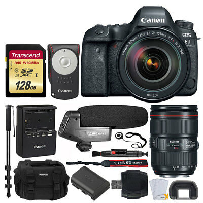 Canon EOS 6D Mark II DSLR Camera + 24-105mm f/4 Lens + 128GB Deluxe Value Bundle