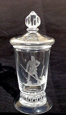 Steuben Glass American Ballard Frontiersman Covered Urn Jar by Waugh 1940's