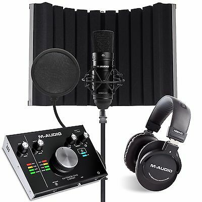 M AUDIO M-TRACK 2X2 VOCAL STUDIO PRO with software Mic stand pop + Sound shields
