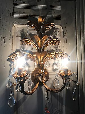 Antique Italian Tole Gold Florentine Wall Sconce 2 Lights With Crystals