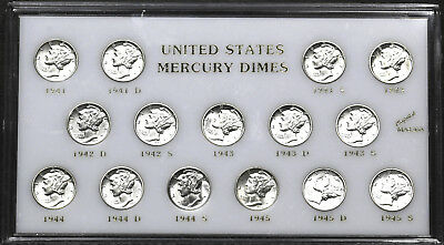 1941 - 1945 Complete Short Set of Mercury Dimes in Old Capital Holder