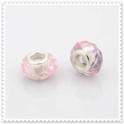 European AB Pink Glass Bead, 3 In a pack