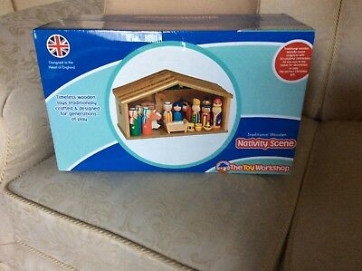 NEW CHILDRENS TRADITIONAL WOODEN NATIVITY SCENE by The Toy Workshop.