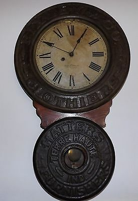 Antique Baird Advertising Clock Pixley Co. Clothiers Hatters Terre Haute Indiana