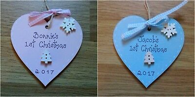 PERSONALISED BABY'S FIRST 1st CHRISTMAS TREE DECORATION bauble pink or blue