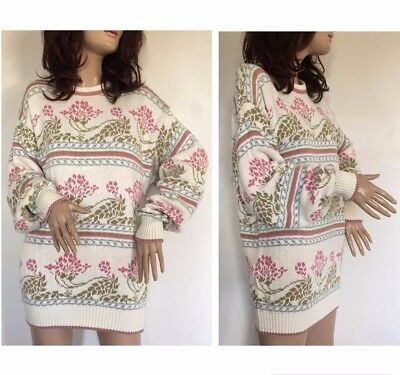 Vintage 80s 90s Oversized Floral Knitted Jumper Sweater Dress Cardigan Grunge