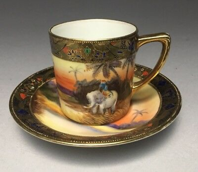 Vintage Japanese Noritake Porcelain Indian Elephant Demitasse Tea Cup & Saucer