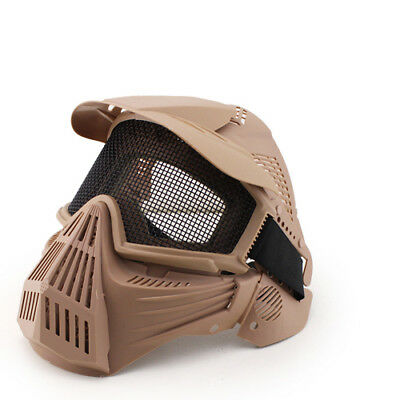Airsoft Pro Full Face Mask W/ Metal Mesh Eye Protection Tan / Costume Dress Up