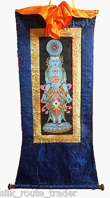 "TIBETAN Mineral THANGKA Painting ""The Tantric System of KUNDALINI Chakras"""