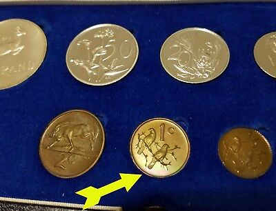 1973 South Africa Proof Set  Rainbow toning SILVER rand