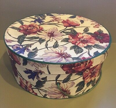 """Vintage ladies floral hat box 11""""dia x 5"""" tall with green rope cord"""