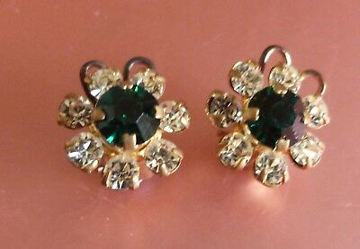 Vintage1950's Gold Tone Emerald Green & White Crystal? Glass? Clip-On Earrings