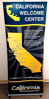 36x79 Retractable Roll Pop Up Banner Stand Trade Show Display California WC
