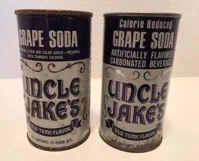 2 Vintage Uncle Jake's Grape Soda Cans, 1 Regular Soda & 1 Calorie Reduced Soda