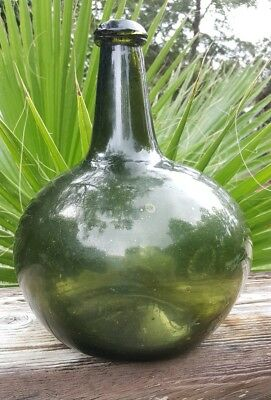 lg. colonial black glass apothecary onion bottle