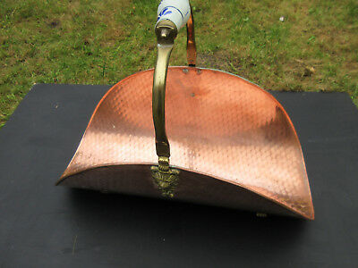 Vintage French Copper Log Basket/ Trugg