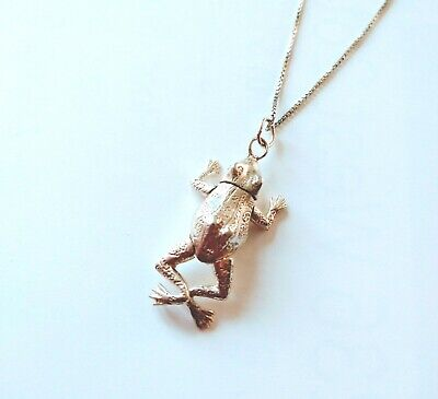 Provided Sterling Silver Movable Frog Pendant Necklace Beaded Chain Italy Excellent Fashion Jewelry