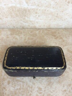 Black Leather And Gold Tooled Antique Jewellery Box