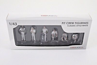 Truescale Tsm 12Ac11 Pit Crew Figurines Classic Style White Set Of 6 1/43 Scale
