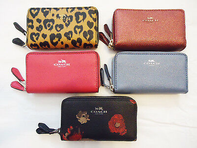 NWT Coach Wallet Coin Purse ID Small Double Zip Case Leather F 57855 63921 15153