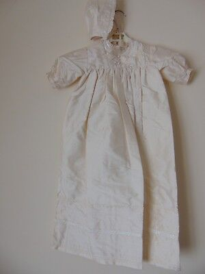 Antique White 100% Pure Silk Traditional Heirloom Unisex Christening Gown.