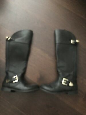 MICHAEL KORS Youth Girl's Size 2 Emma Lana Tall Fall Boots Shoes Black Buckles