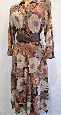 Vintage 1980s does 1940's style tea Dress Brown Floral Approx Size 12