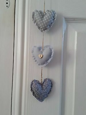 Handmade fabric set / 3 vertical hanging hearts.Shabby chic. Silver Grey mix