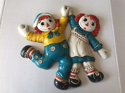 """Vintage 1977 Bobb's Merrill Co Raggedy Ann And Andy Wall Decor Plaque Art 14X15"""""""