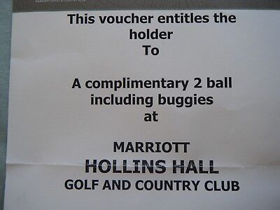Golf Green Fee Voucher For Marriott Hollins Hall. 2 Ball Including Buggy