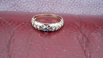 375 9ct GOLD sapphire & CZ Stone Ring Size O NOT SCRAP NO RESERVE