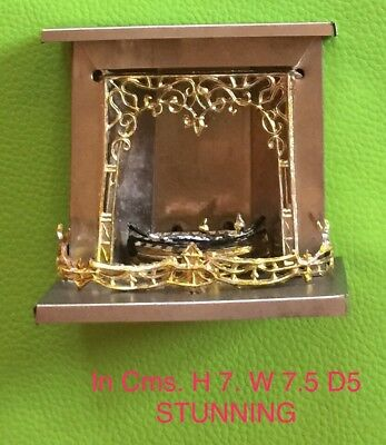 Antique Vintage Dolls House Miniature Fireplace Elaborate And Stunning Circa 192