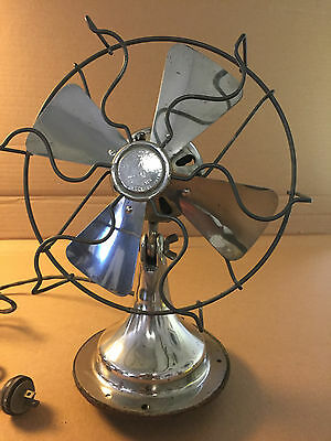 Vintage Fitzgerald star bright chrome electric table fan