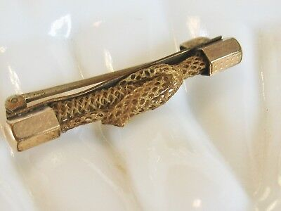 Old Antique Victorian Woven Blonde Hair Mouring Bar Pin Brooch With Knot Detail