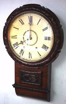 Original Antique Carved Drop Dial Wall Clock Anglo/America Waiting Room Clock