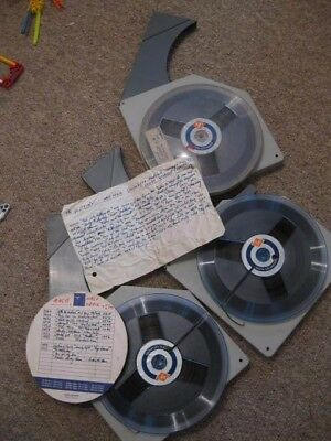 """3x Agfa reel to reel 7"""" spool recording tapes plastic Agfa box case old vintage"""