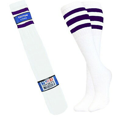 4 Pair Sports Tube Socks Cotton 3 Purple Stripes Hi Calf Long Socks 10-15