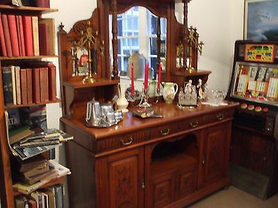 Antique 1894 Oak Mirror Backed Sideboard With Original Bill Of Sale And Keys