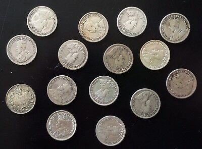Canada Silver 10 Cents Lot. 1920-1936 King George V. Ten Cent Canadian Coins.
