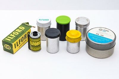 LOT of Empty Film Canister Metal Tins Kodak & Ilford HP3 35mm Cartridge, 120 box