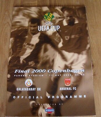 UEFA CUP FINAL 2000 Galatasaray SK V Arsenal FC Copenhagen Official Programme
