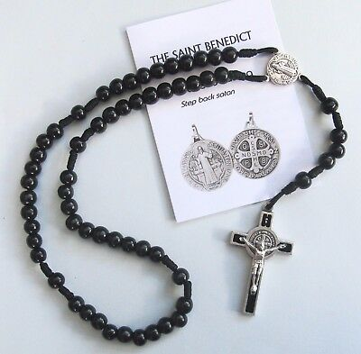 Saint Benedict Black Wood Rosary With Leaflet (Handmade)