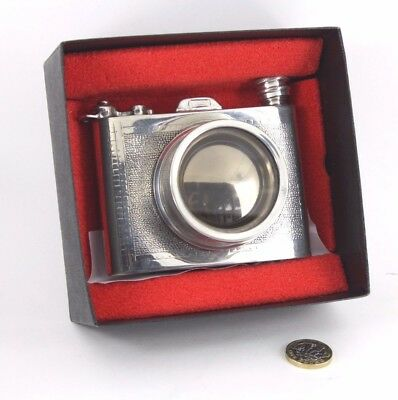 great pewter 6oz CAMERA FLASK, lens is a glass bottomed cup!