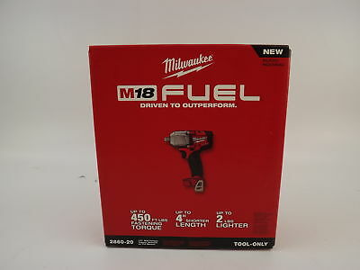 "Milwaukee M18 Fuel 1/2"" Mid-Torque Impact Wrench W/Pin Detent 2860-20 NEW"