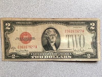 $2 Red Seal United States Note 1928 G