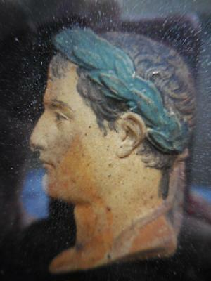 Fine Circa 1810 Framed Painted Wax Portrait Bust Napoleon Bonaparte By Andrieu