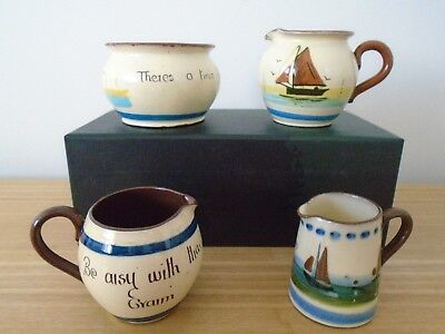 Watcombe and Longpark Torquay Motto Ware Pottery Milk Jugs and Sugar Bowl