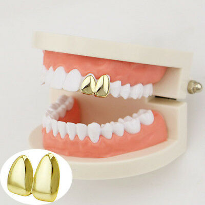 Gold Plated Double Cap Tooth Cap Hip Hop Teeth Grill Jewellery Grills Teeth