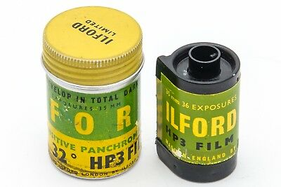 1950's Empty Roll ILFORD HP3 35mm Film Cassette/Cartridge in Metal Tin Canister