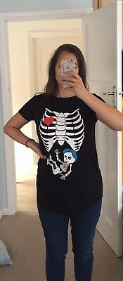 Halloween Costume Maternity Skeleton T-shirt / Top Size M 10 12 14